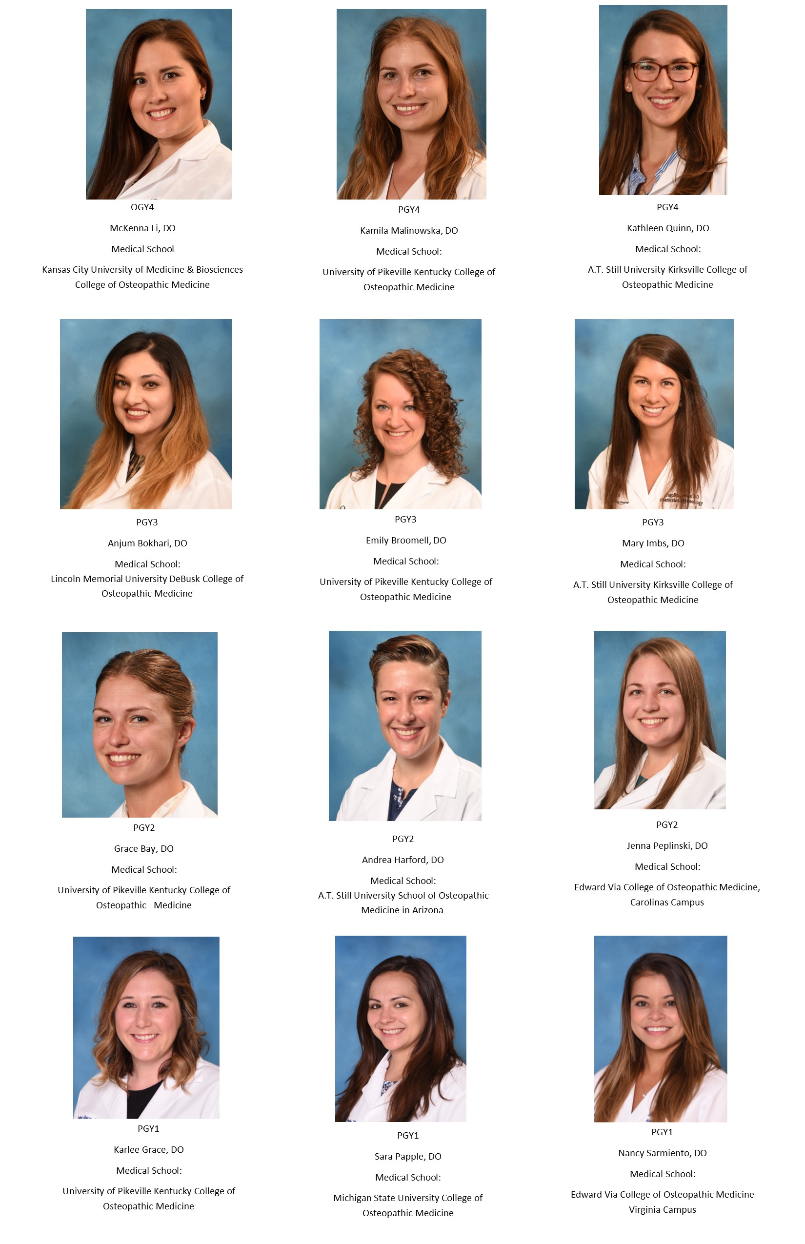 2019-2020 Current Obstetric & Gynecology Residents
