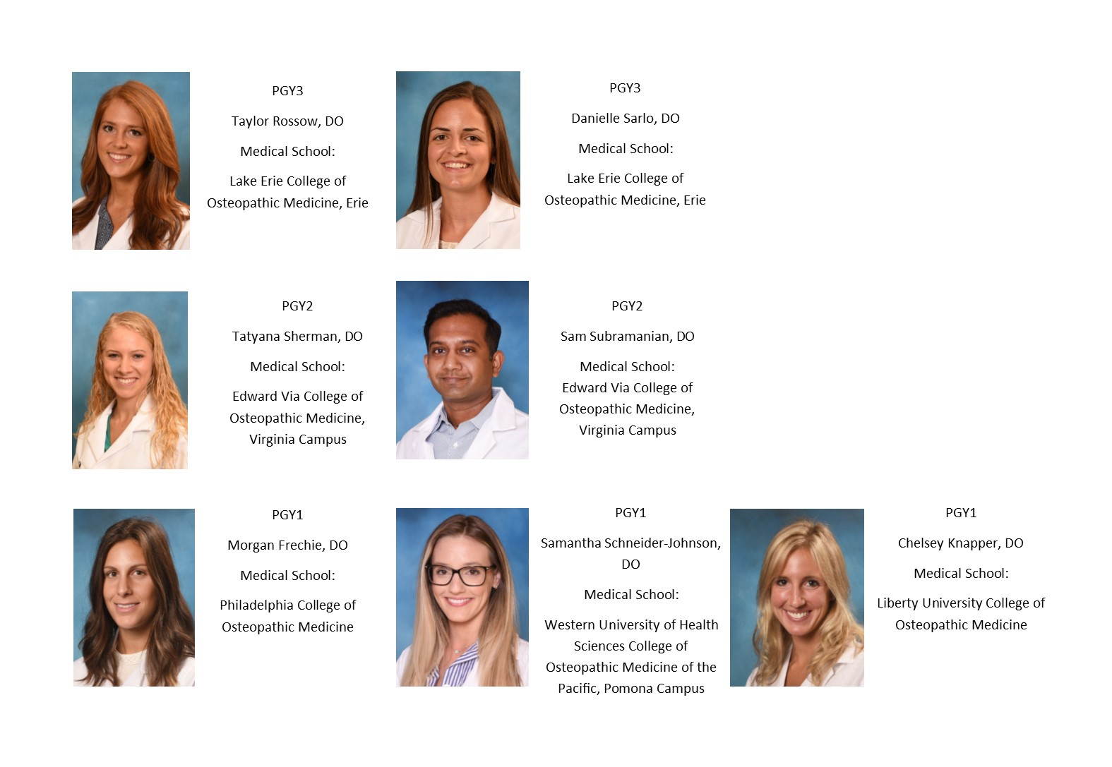 19-20 Ophthalmology Residents